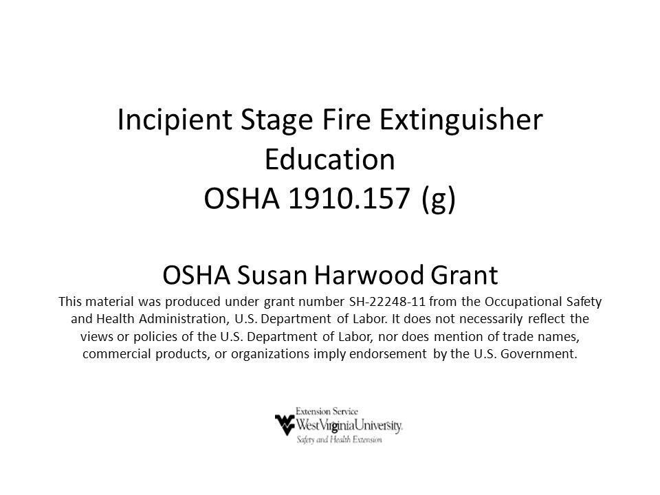 Incipient Stage Fire Extinguisher Education OSHA 1910