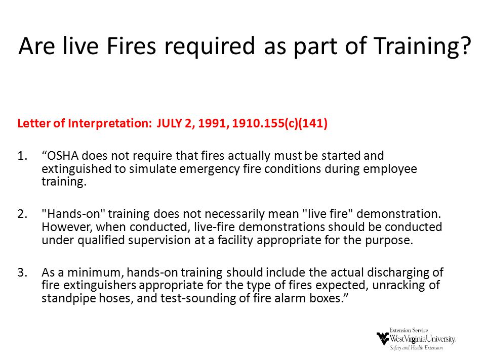 Are live Fires required as part of Training