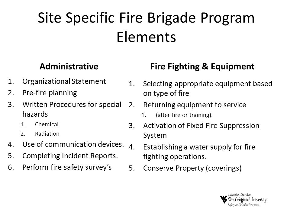 Site Specific Fire Brigade Program Elements