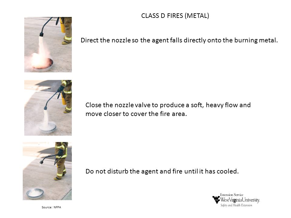 Direct the nozzle so the agent falls directly onto the burning metal.