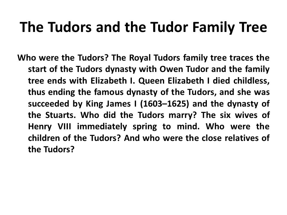 The Tudors and the Tudor Family Tree