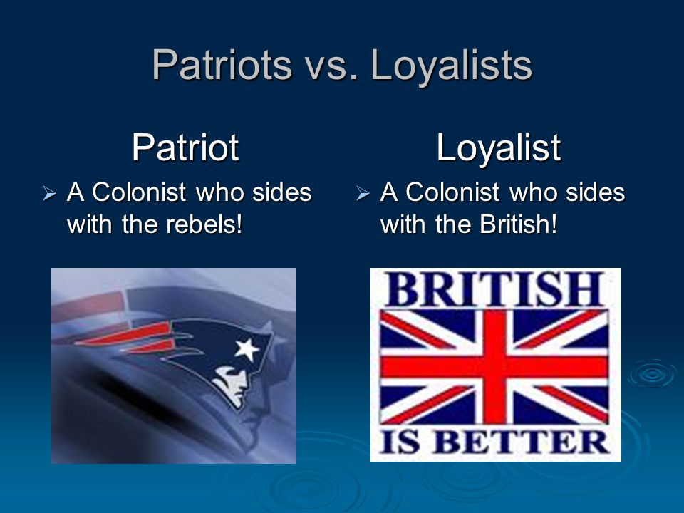 the patriots against the british essay Why the british lost the revolutionary war and tactics against the british that were needed in order to in order to discourage the patriots.