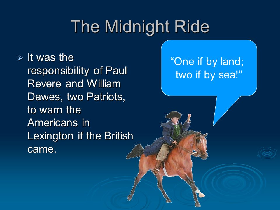 The Midnight Ride One if by land;