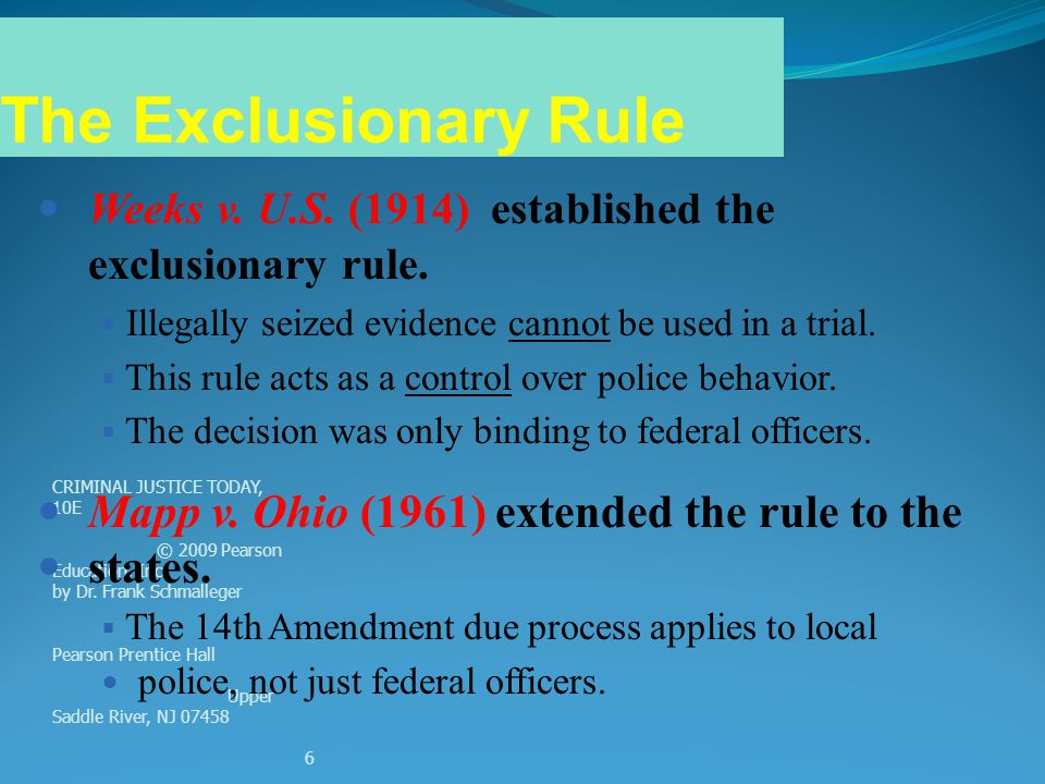 The Exclusionary Rule Mapp v. Ohio (1961) extended the rule to the