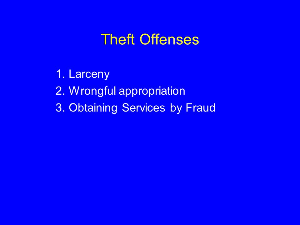 Theft Offenses Larceny Wrongful appropriation