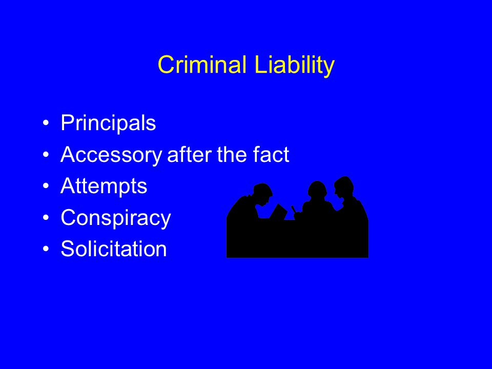 Criminal Liability Principals Accessory after the fact Attempts