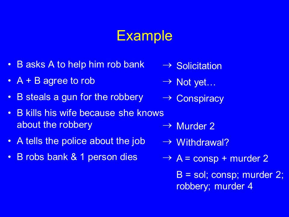 Example B asks A to help him rob bank  Solicitation
