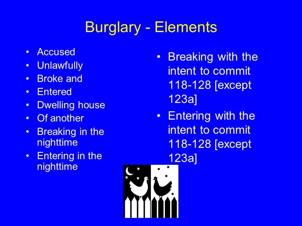 Burglary - Elements Accused. Unlawfully. Broke and. Entered. Dwelling house. Of another. Breaking in the nighttime.