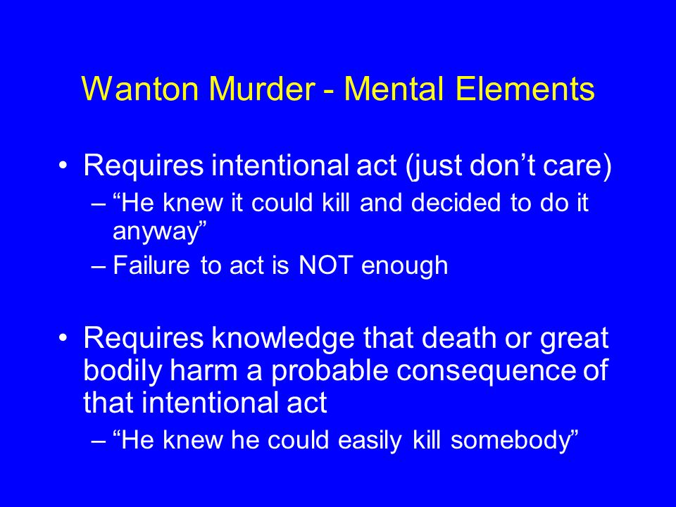Wanton Murder - Mental Elements