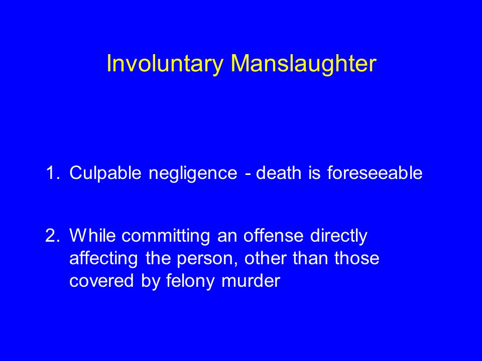 elements regarding involuntary manslaughter