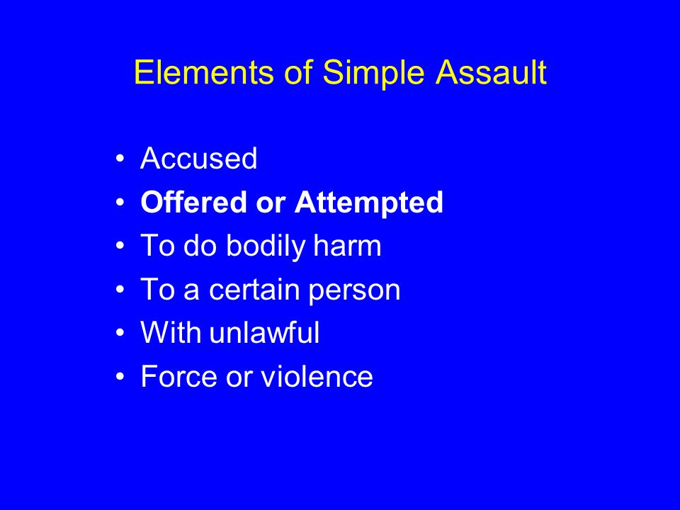 Elements of Simple Assault