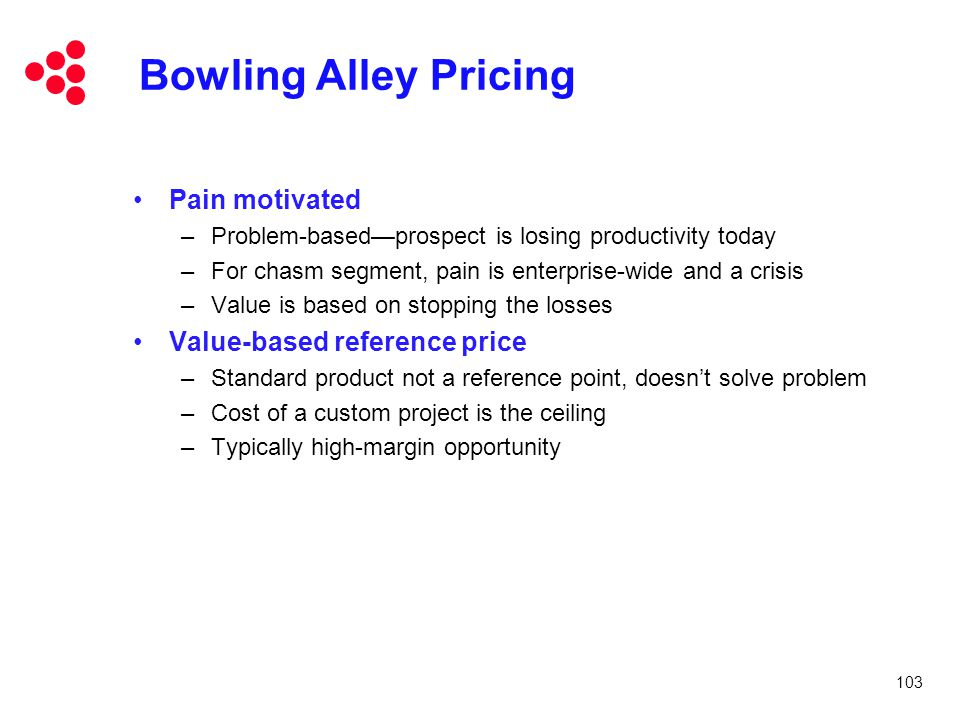 Bowling Alley Pricing Pain motivated Value-based reference price