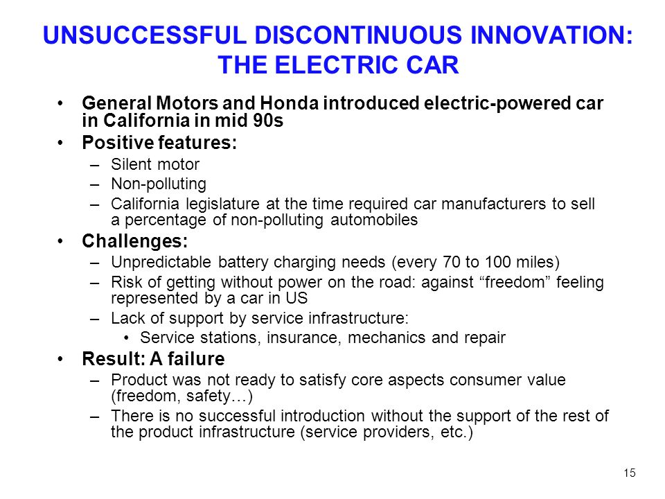UNSUCCESSFUL DISCONTINUOUS INNOVATION: THE ELECTRIC CAR