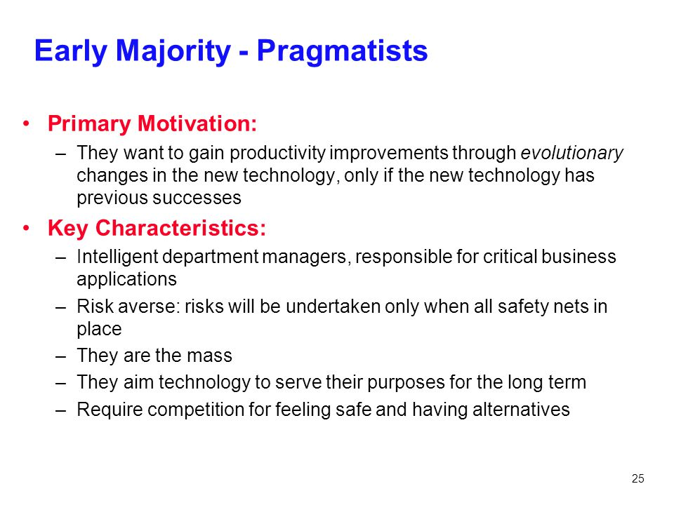 Early Majority - Pragmatists