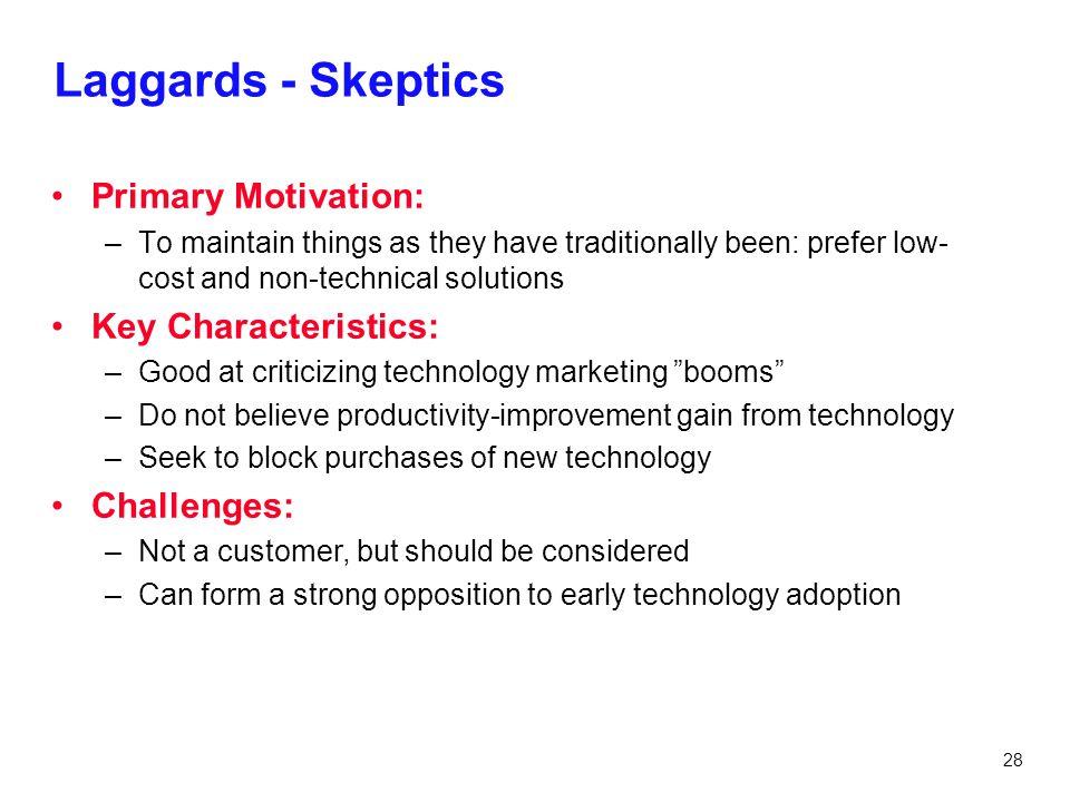 Laggards - Skeptics Primary Motivation: Key Characteristics: