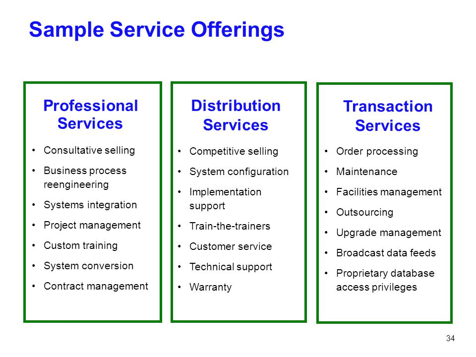 Sample Service Offerings