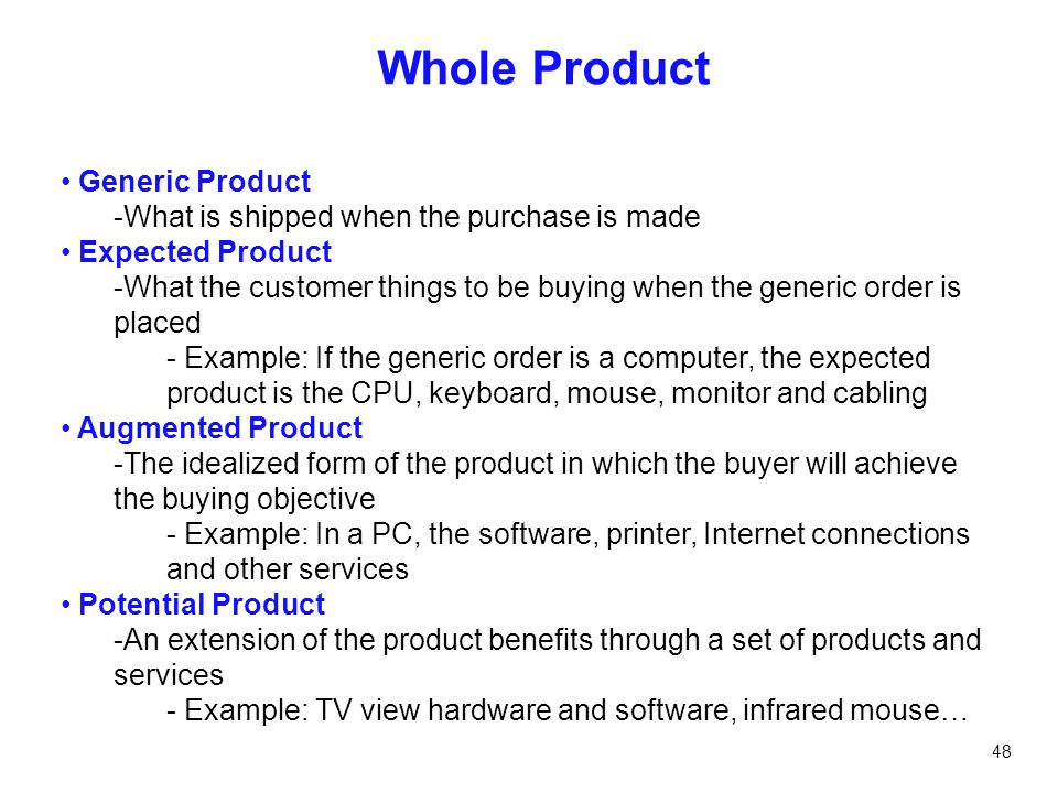 Whole Product Generic Product