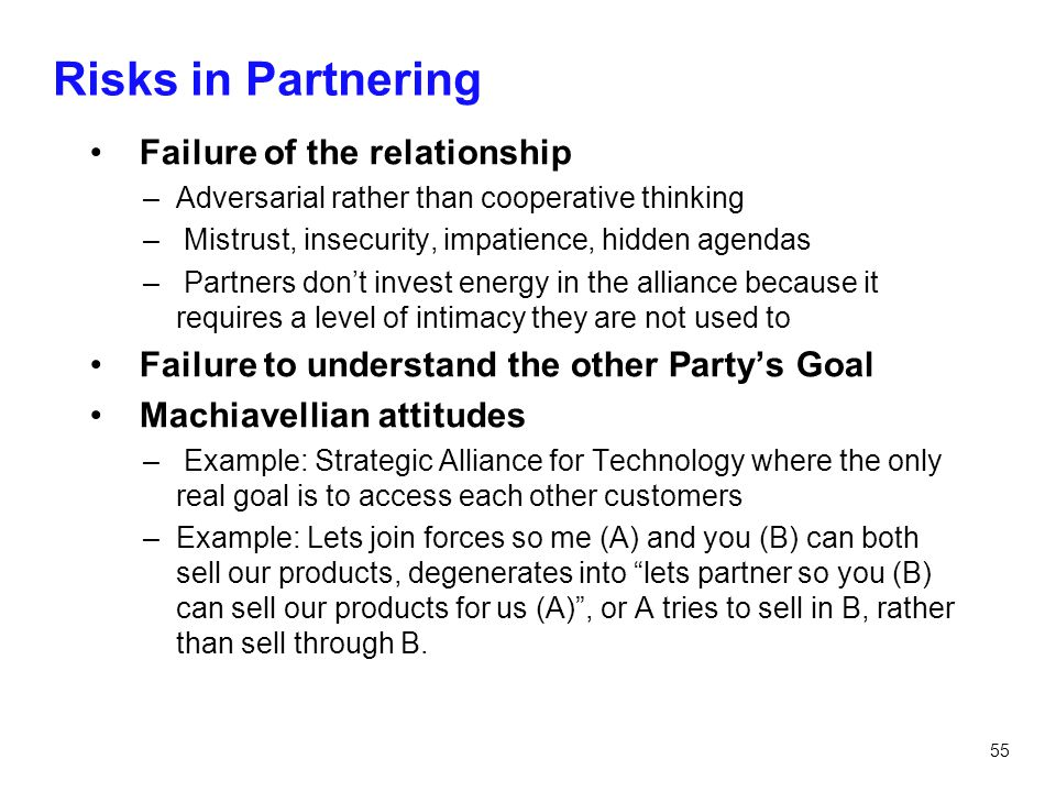 Risks in Partnering Failure of the relationship