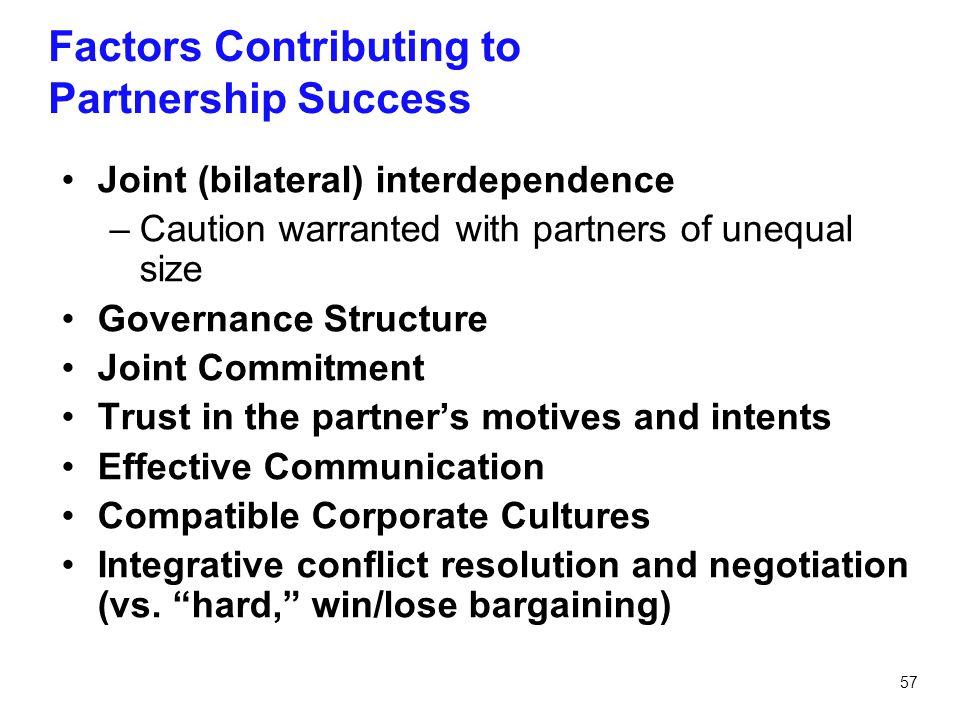 Factors Contributing to Partnership Success