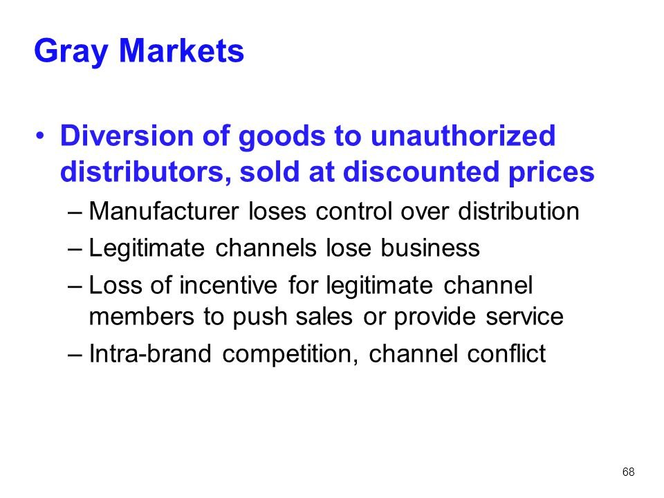 Gray Markets Diversion of goods to unauthorized distributors, sold at discounted prices. Manufacturer loses control over distribution.