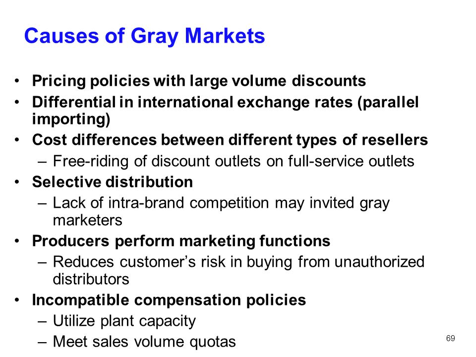 Causes of Gray Markets Pricing policies with large volume discounts