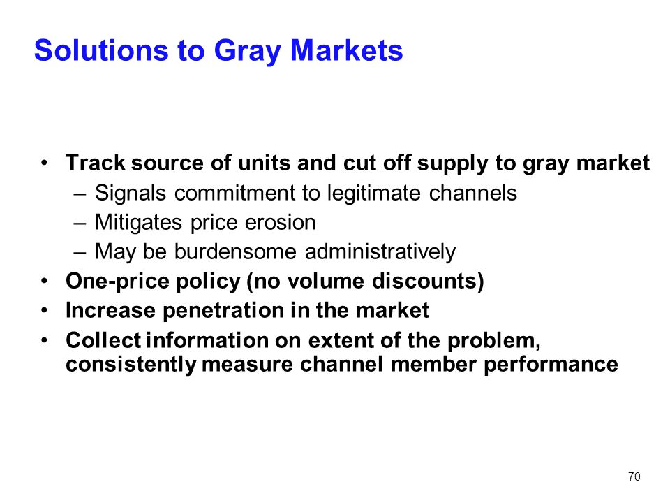 Solutions to Gray Markets