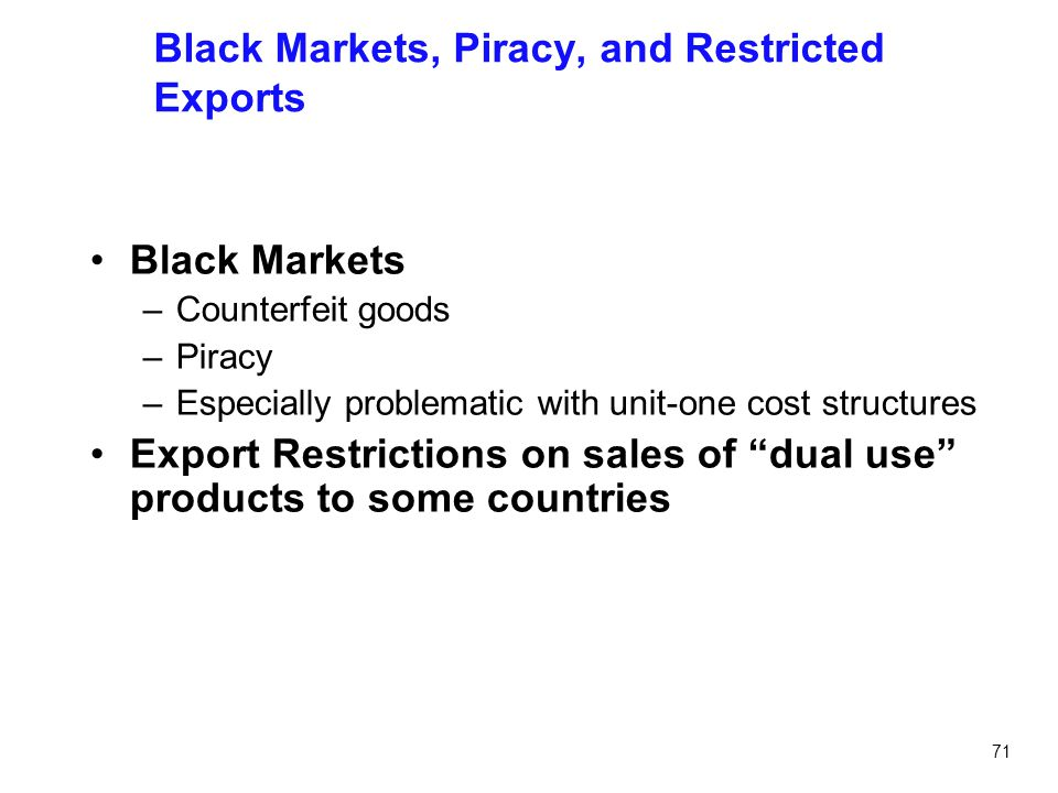 Black Markets, Piracy, and Restricted Exports