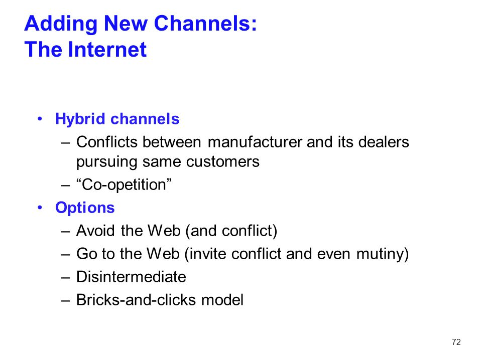 Adding New Channels: The Internet