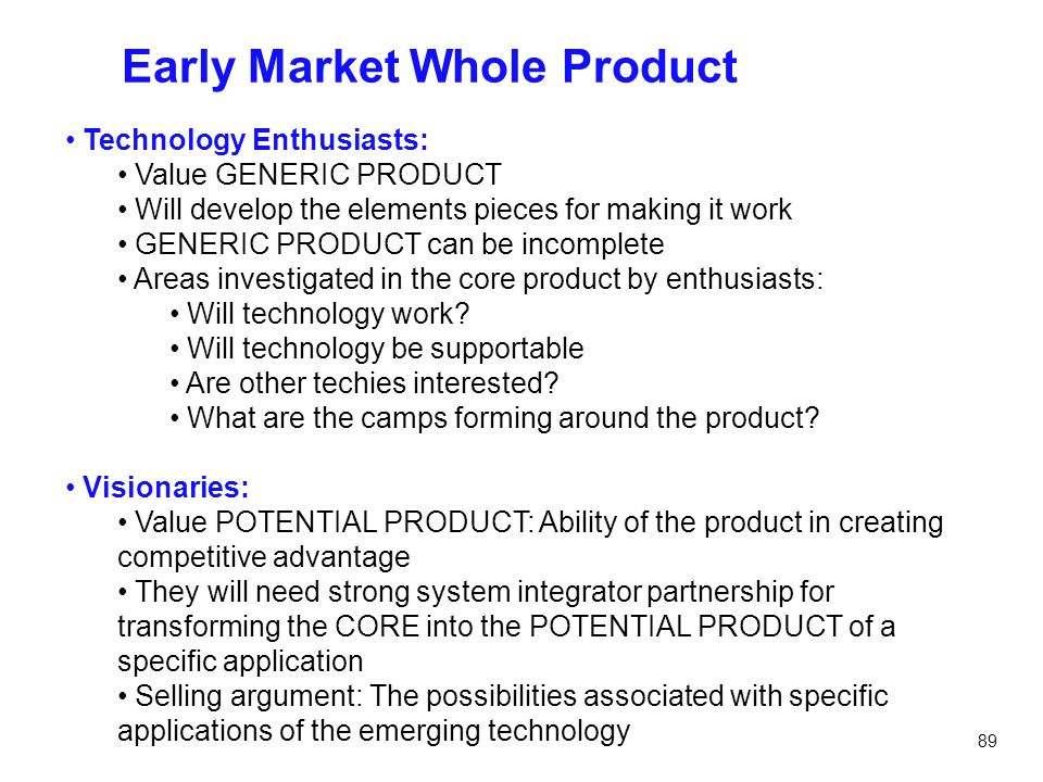 Early Market Whole Product