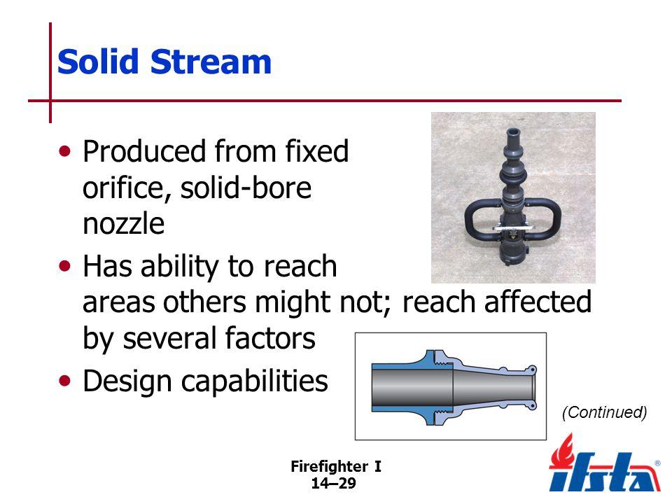 Solid Stream Velocity of stream a result of nozzle pressure