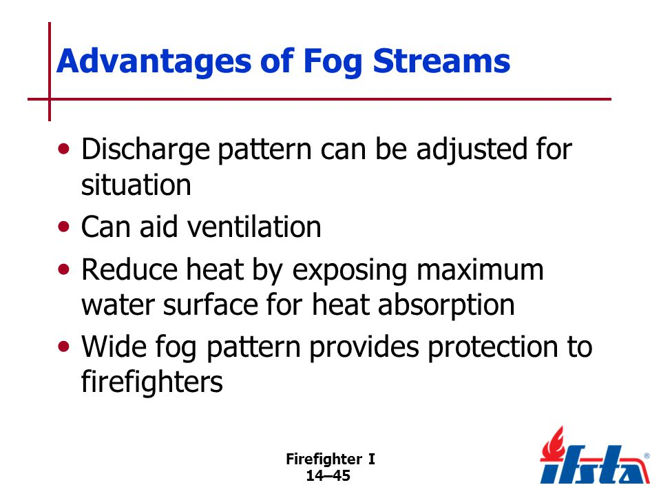 DISCUSSION QUESTION What type of fire situation would be ideal for a fog-stream nozzle.