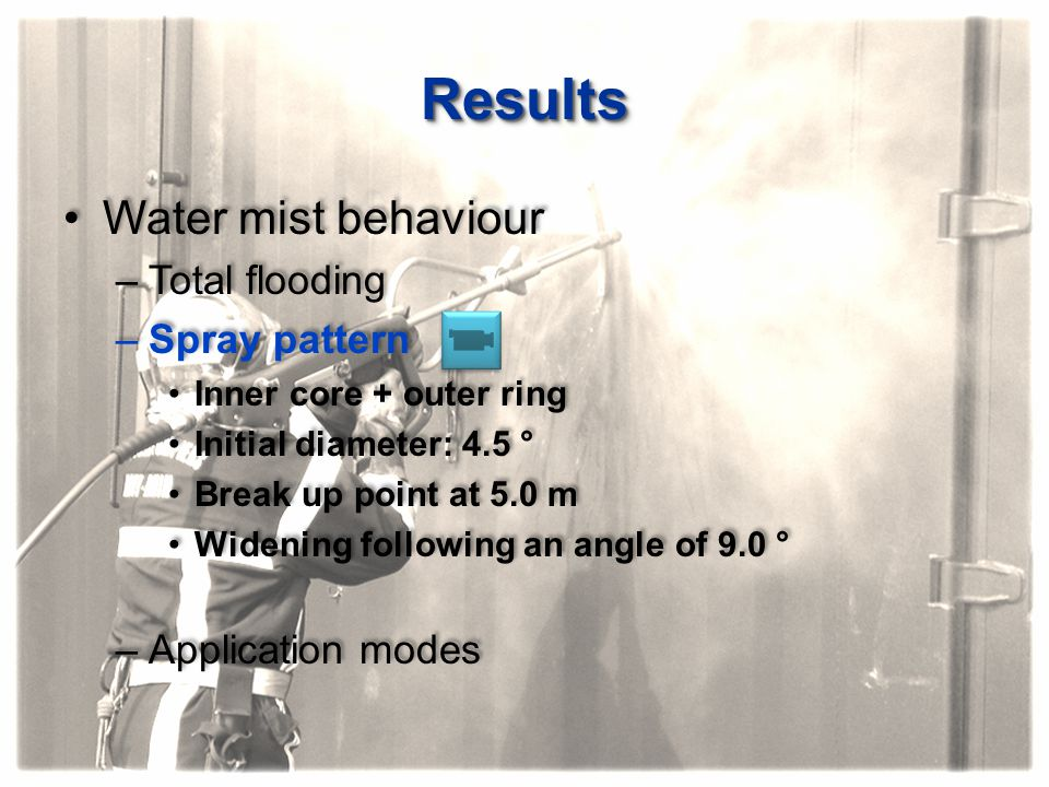 Results Water mist behaviour Total flooding Spray pattern