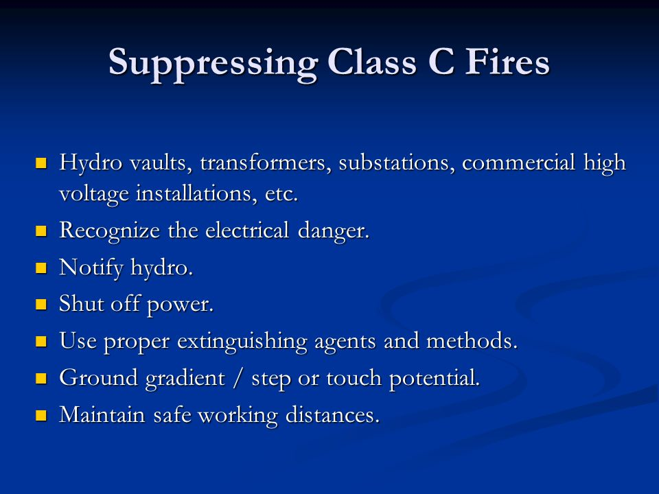 Suppressing Class C Fires