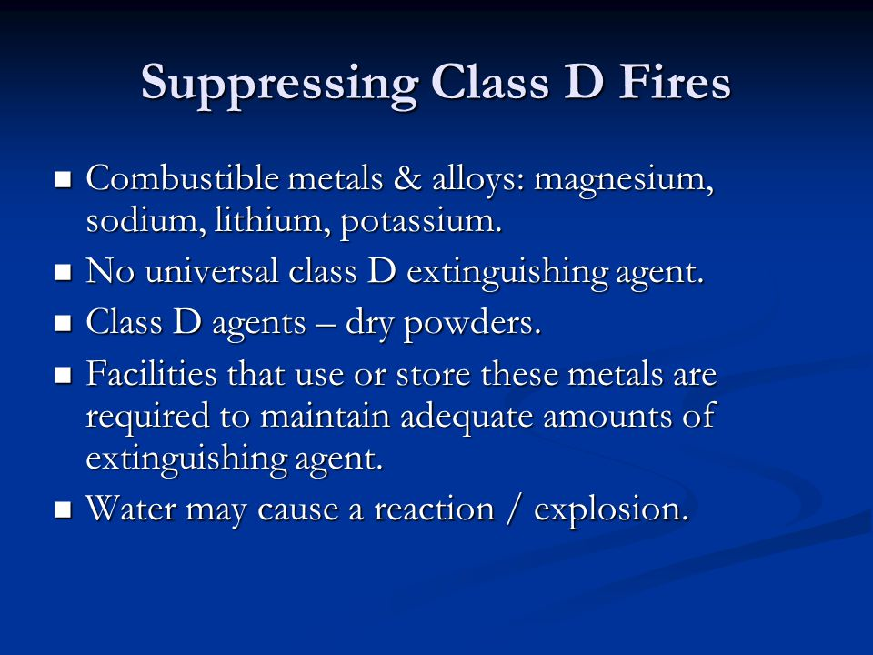 Suppressing Class D Fires