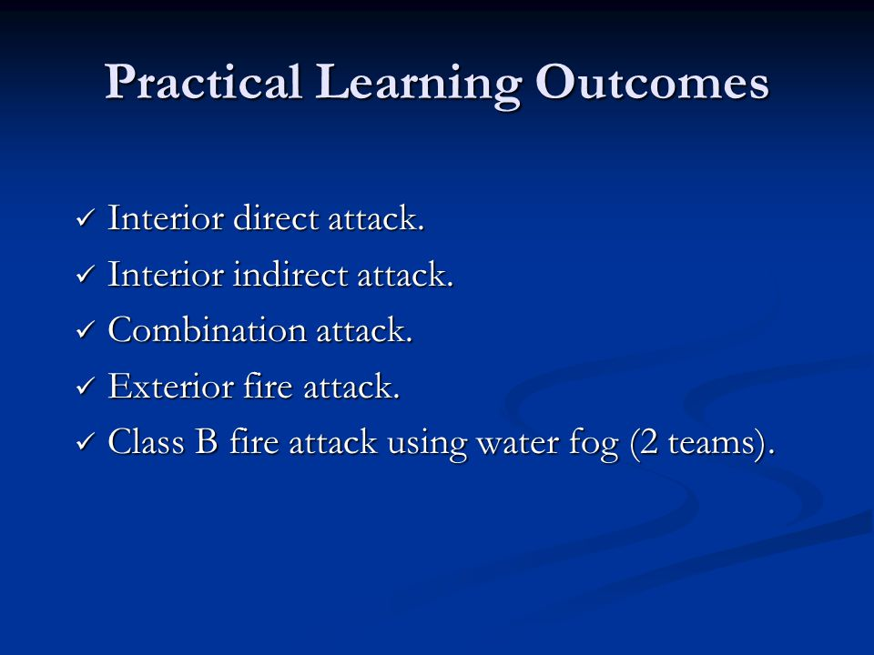 Practical Learning Outcomes
