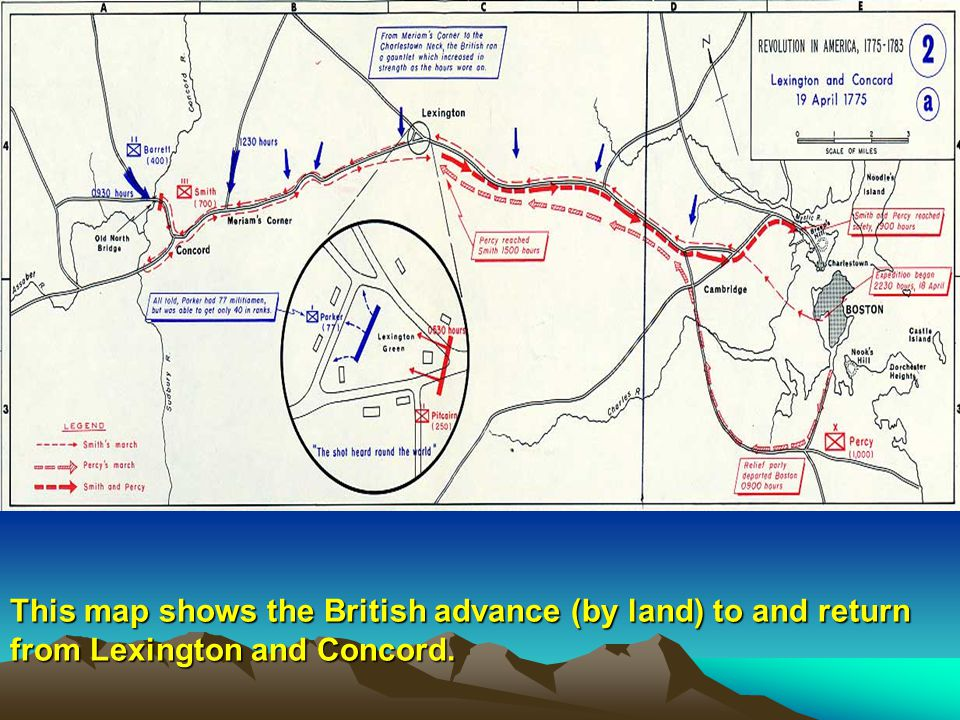 This map shows the British advance (by land) to and return from Lexington and Concord.