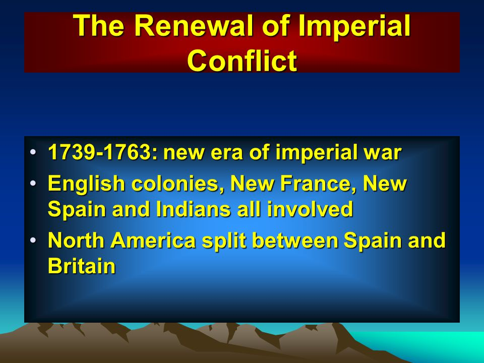 The Renewal of Imperial Conflict