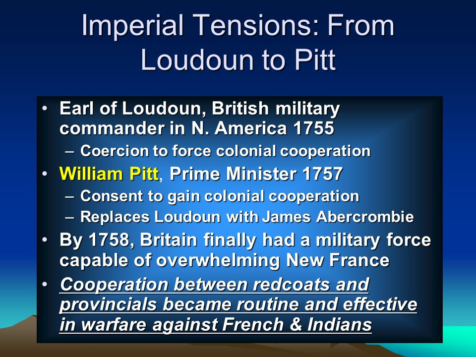 Imperial Tensions: From Loudoun to Pitt