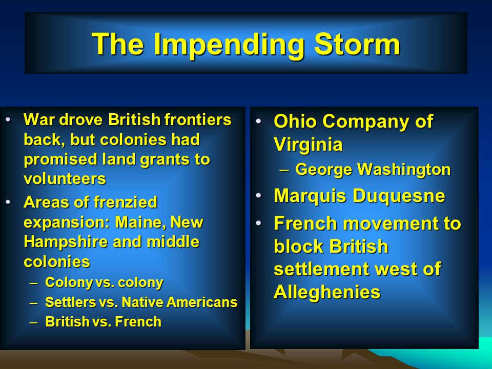 The Impending Storm Ohio Company of Virginia Marquis Duquesne