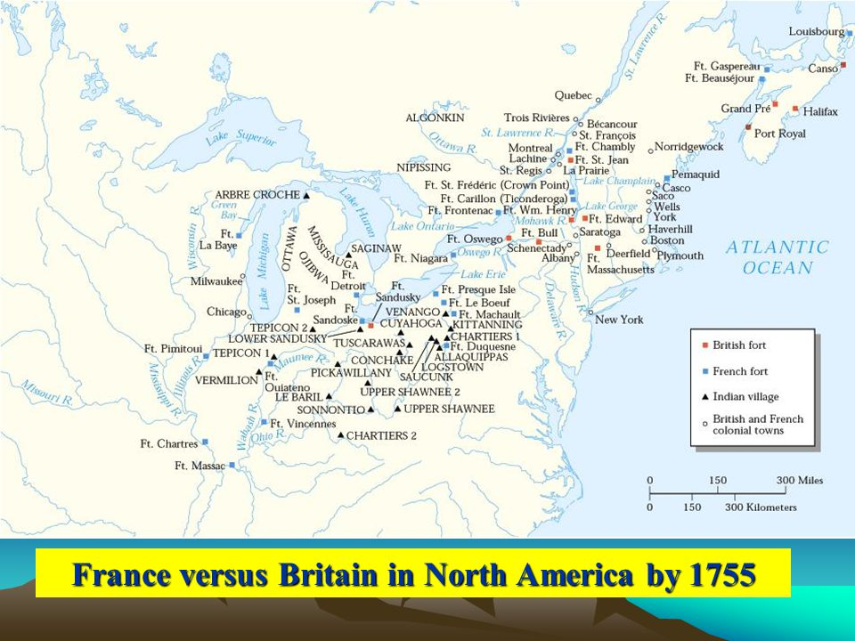 France versus Britain in North America by 1755