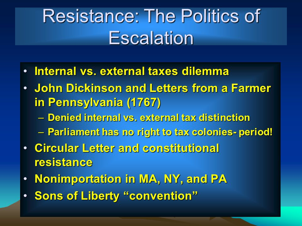 Resistance: The Politics of Escalation