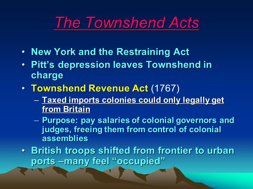 The Townshend Acts New York and the Restraining Act
