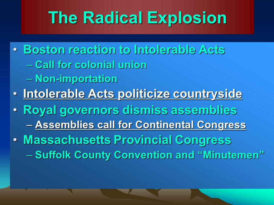 The Radical Explosion Boston reaction to Intolerable Acts