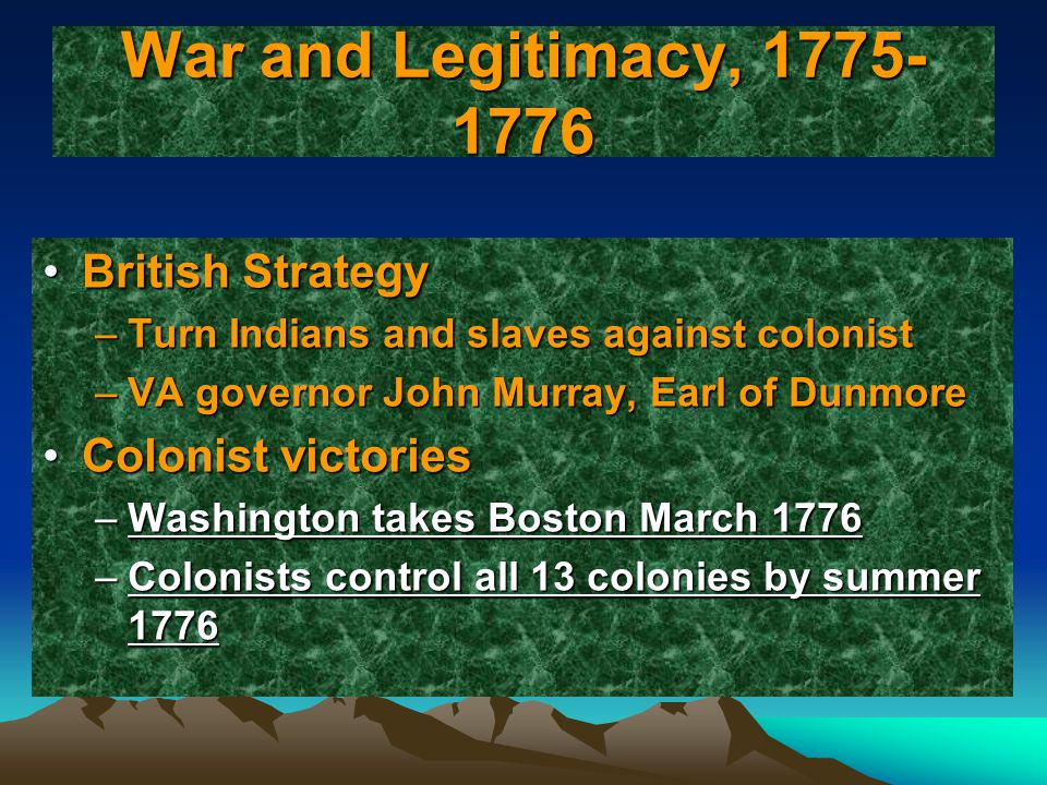 War and Legitimacy, 1775-1776 British Strategy Colonist victories