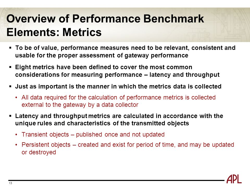 Overview of Performance Benchmark Elements: Metrics