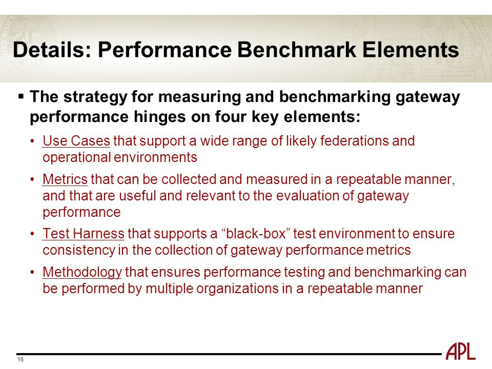 Details: Performance Benchmark Elements