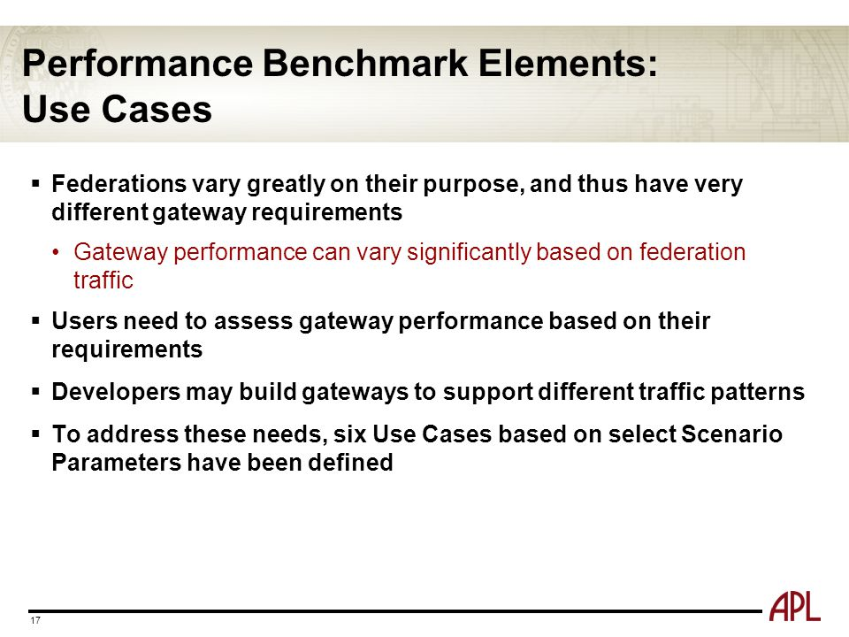 Performance Benchmark Elements: Use Cases