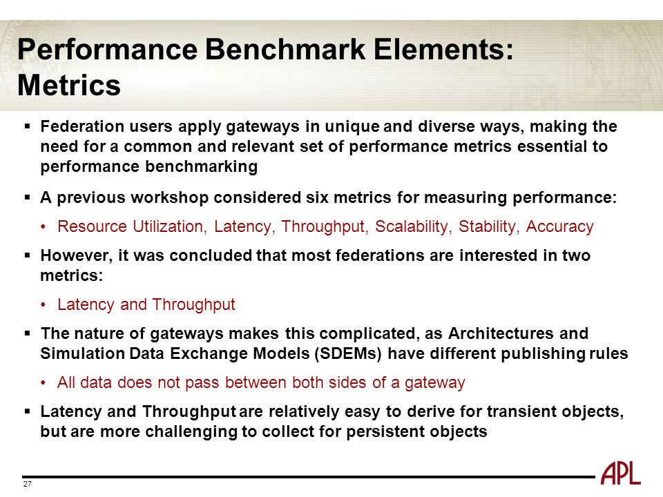 Performance Benchmark Elements: Metrics