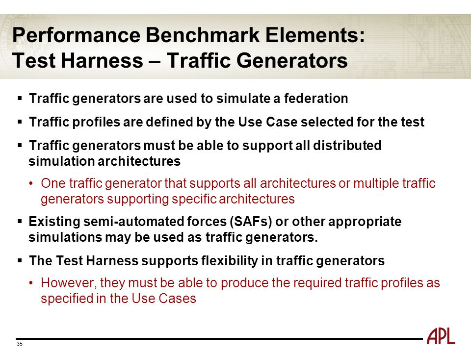 Performance Benchmark Elements: Test Harness – Traffic Generators