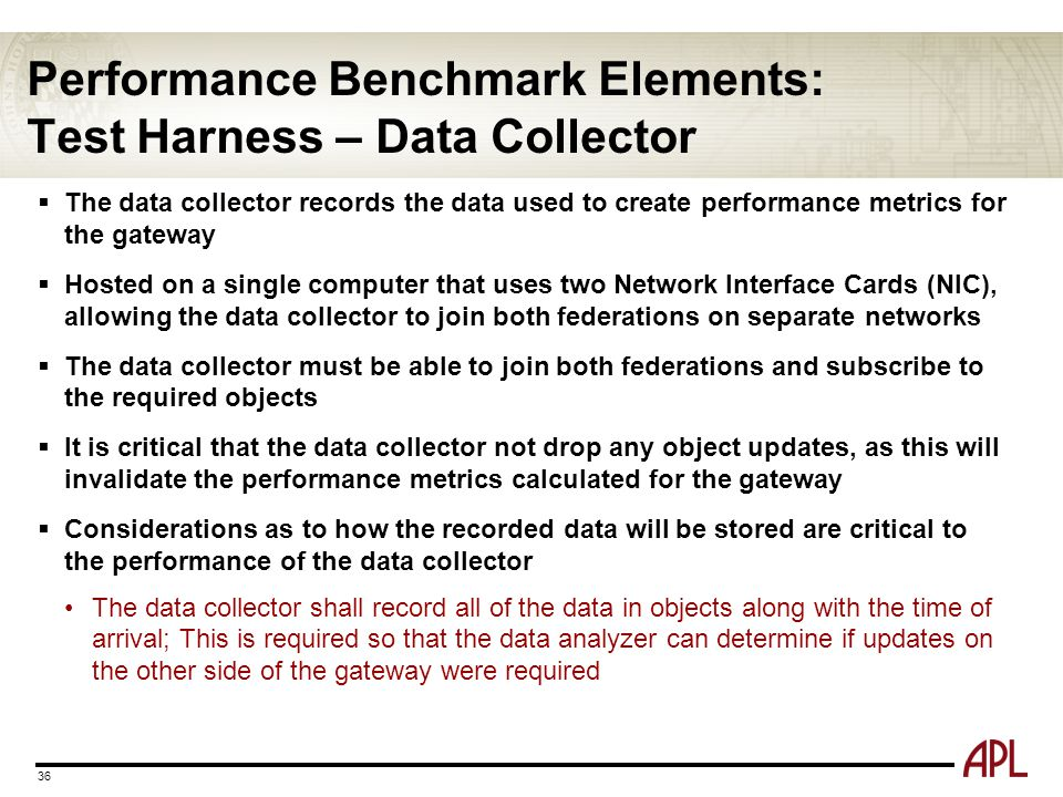 Performance Benchmark Elements: Test Harness – Data Collector